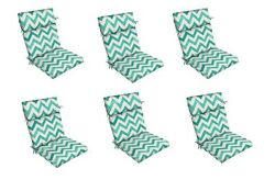 Teal Zigzag Replacement Patio Chair Cushion Setof 6 Outdoor Furniture Dining Pad