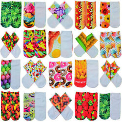 22Pairs Novelty Women Girls Low Cut Ankle Socks Cotton 3D Print Animals Foods C $2.73