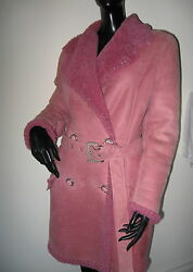 VINTAGE 80'S GIANNI VERSACE COUTURE PINK SUEDE SHEARLING TRENCH COAT 42 (6-8)