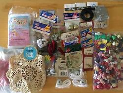 Mixed LOT Assorted Old New Sewing Notions Craft Supplies Buttons Bells Bows Etc