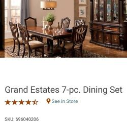 Raymour and Flanigan Grand Estates 11Pc Dining Set wChina Cab & Table Protector