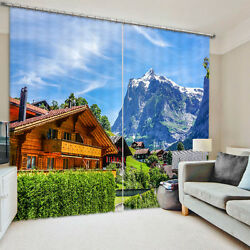 3D 2 Panel Curtain Set Log Cabin Home Mountains Country Nature Blackout Style
