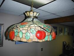 ANTIQUE SLAG GLASS HANGING LAMP $265.00