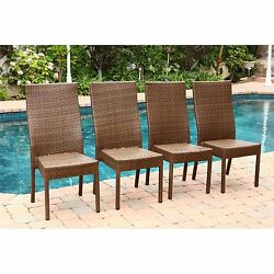 4 Pc Set Brown Palermo Outdoor Wicker Dining Chairs Home Garden Pool Patio Seats