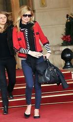 Chanel 10C Red Black Cashmere Sweater Cardigan Jacket NEW 40 Classic RARE NWT