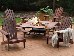 Patio Sets with Fire Pit Table Wood Burning Outdoor Conversation 5pc Adirondack
