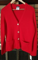 CHANEL Red Cashmere V Neck Cardigan Sweater NWT $2390 Size 44