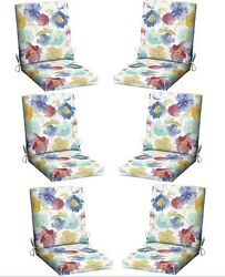 White Floral Patio Chair Cushion Set 6 Outdoor Dining Cushions Replacement Pads