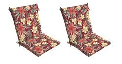 Floral Chair Cushion Set of 2 Outdoor Patio Dining Replacement Cushions Seat Pad