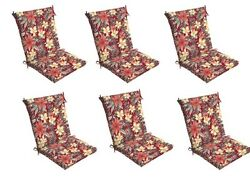 Floral Chair Cushion Set of 6 Outdoor Patio Dining Replacement Cushions Seat Pad