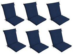 Dark Blue Patio Chair Cushion Set of 6 Outdoor Dining Replacement Cushions Seat