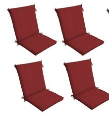 Red Patio Chair Cushion Set of 4 Outdoor Dining Replacement Cushions Seat Pads