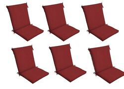 Red Patio Chair Cushion Set of 6 Outdoor Dining Replacement Cushions Seat Pads