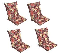 Floral Chair Cushion Set of 4 Outdoor Patio Dining Replacement Cushions Seat Pad
