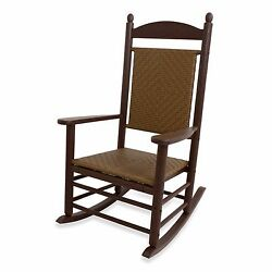 Mahogany Outdoor Garden Patio Deck Porch Pool Beach Woven Rocker Rocking Chair