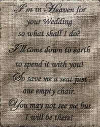 Primitive In Heaven For Your Wedding Save A Seat Burlap Banner Panel Sign 8