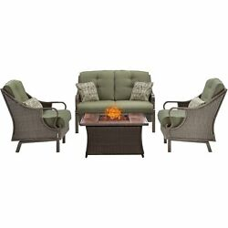 Hanover Ven4Pcfp-Grn-Wg 4 Piece Ventura Fire Pit Chat Set In Vintage Meadow