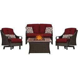 Hanover Ven4Pcfp-Red-Wg 4 Piece Ventura Fire Pit Chat Set In Crimson Red