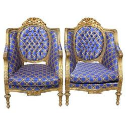 Pair of French Louis XVI Style Richly Carved Giltwood Armchairs circa 1890-1900