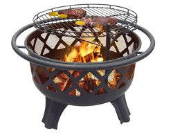 New Backyard Outdoor Patio Steel Wood Burning Fire Pit Grill Cooking Grate