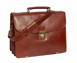 Mens Real Leather Briefcase Business Office Shoulder Laptop Executive Bag Brown