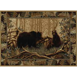 Forest Theme Rug Bear Decorations Cozy Cabin Lodge Themed Decor for Living Room