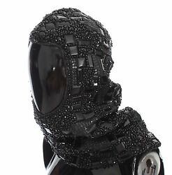 NEW $3800 DOLCE & GABBANA Hood Scarf Hat Crystal Glass Sequin Black Knitted Wool