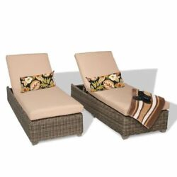Miseno CAPECOD-2x-WHEAT Nantucket 2-Piece Outdoor Chaise Lounge Chair Set