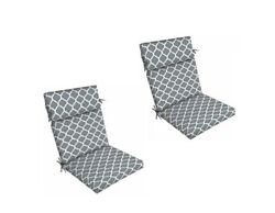 Grey Trellis Outdoor Seat Cushion Set of 2 Replacement Dining Patio Yard Chair