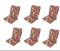 Red Floral Replacement Patio Cushion Set of 6 Outdoor Dining Seat Chair Cushions