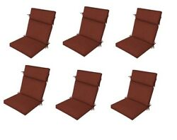 Amber Red Patio Chair Cushion Set of 6 Outdoor Furniture Dining Replacement Pads