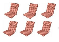 Coral Trellis Seat Cushion Set of 6 Replacement Dining Patio Chair Furniture Red