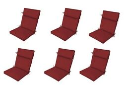 Ruby Red Chair Cushion Set of 6 Outdoor Furniture Dining Pads Replacement Patio