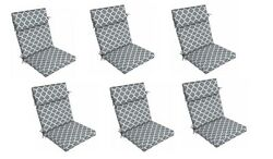 Grey Trellis Outdoor Seat Cushion Set of 6 Replacement Dining Patio Yard Chair