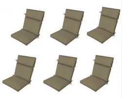 Sand Beige Replacement Patio Chair Cushion Set of 6 Furniture Dining Pads Tan