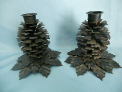 Pinecone Metal Candle Holders Candlestick *Log Cabin Lodge Xmas Rustic Decor*