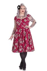 Hell Bunny Plus Size Gothic Red Day of the Dead Sasha Dress 2X 3X 4X