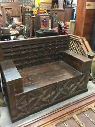 Antique Diwan Indian Bench Teak Sofa Hand Carved Iron Patina Rustic Storage 19c