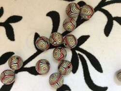 Beautiful black red yellow  handmade clay beads. 10mm and 2mm hole(B 15 12)