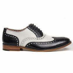 Handmade Men Wingtip Brogue Leather Shoes Black White Dress Shoes Formal Shoes