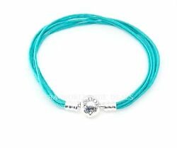 New Authentic Pandora Silver Teal Fabric Multi String Bracelet 590715CTU M1-M3