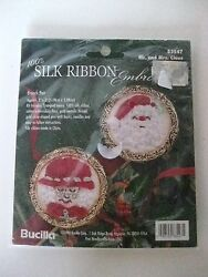 Bucilla Silk Ribbon Christmas Embroidery Kit #83547 Mr.Mrs. Claus Brooches-NEW