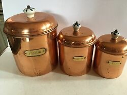 VINTAGE COPPER 6 PIECECANISTER SET WITH BRASS LABELS AND CERAMIC KNOBS