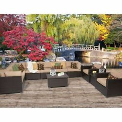 Miseno BELLE-11a-WHEAT Anabelle 11-Piece Outdoor Furniture Sets and Club Chairs