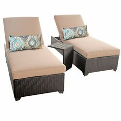 Miseno CLASSIC-2x-ST-WHEAT Traditions 3-Piece Outdoor Chaise Lounge Chair Set