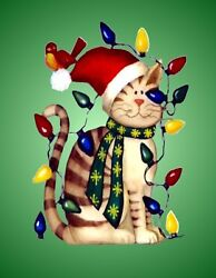 METAL MAGNET Cat Covered In Christmas Lights Humor Cats MAGNET $5.36