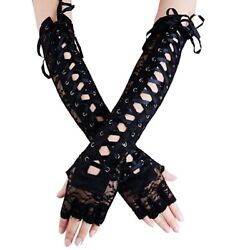 Women#x27;s Sexy Elbow Length Fingerless Lace Up Arm Warmer Black Long Lace Gloves $10.98