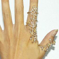 Women Luxurious Crystal Flower Statement Ring Set for Punk Finger Ring Jewelry