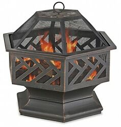 Outdoor Hexagon Fire Pit Bowl Patio Deck Backyard Portable Oil Rubbed Roasting