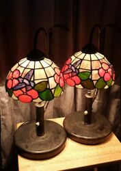 Stain Slag Tiffany Style Table Lamps Pair $200.00